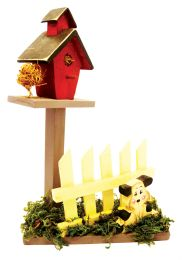 20 Units of Decorative Wooden Bird House On Picket Fence And Grass Deco Hand Painted Asst. Animals 10 Inches Tall - Home Decor