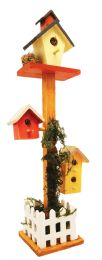12 Units of Decorative Wood 3 Mini Birdhouses On Tall Pedestal Picket Fence Deco. 14.5 - Home Decor