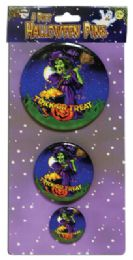 72 Units of Halloween Button Pins 3.5 2.5 And 1.5 Inch Prepriced At $2.99 - Halloween & Thanksgiving