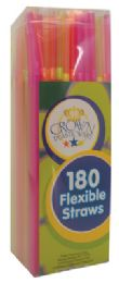 60 Units of FLEXIBLE STRAWS 180 CT IN SQUARE DISPENSER - Straws and Stirrers