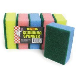 48 Units of Scouring Sponge 6 Pack 4 X 3 X 1 Inch - Scouring Pads & Sponges