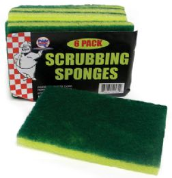 48 Units of Scrubbing Sponge 6 Pack 4.5 X 3 X .5 Inches In Display - Scouring Pads & Sponges