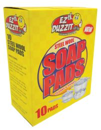 36 Units of Ez Duzzit Scouring Steel Wool Soap Pads 10 Pack - Scouring Pads & Sponges