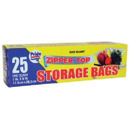 48 Units of Storage Bag 25 Ct 1 Quart Zip Top - Bags Of All Types