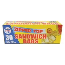 48 Units of Sandwich Bag 30 Ct 6.5 X 5.875 Inch Zip Top - Bags Of All Types