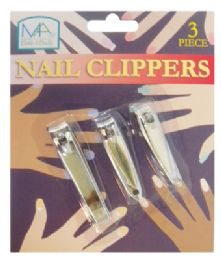 48 Units of Nail Clipper Set 3 Piece Assorted Sizes - Manicure and Pedicure Items