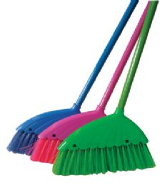 36 Units of Angle Broom 12 Inch With 43 Inch Metal Handle Assorted Colors - Cleaning Products