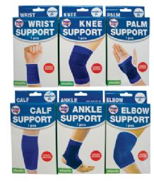 72 Units of Elastic Bandages 6 Assorted One Size Fits All (ankle Support/ Calf Support/ Elbow Support/ Knee Support/ Palm Support And Wrist Support) - Bandages and Support Wraps