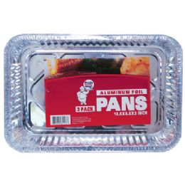 48 Units of Foil Pan 3 Pack 12.5 X 8.5 X 2 Inch Rectangular - Baking Supplies