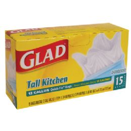 12 Units of Glad Tall Kithcen Trash Bags 15 Count 13 Gallon Quick Tie - Garbage & Storage Bags