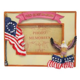 48 Units of PHOTO FRAME 3 X 5 INCH ASSORTED PATRIOTIC DESIGNS - Picture Frames
