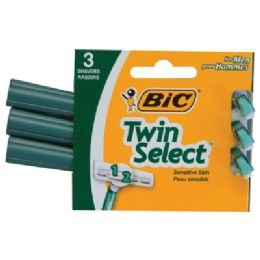 72 Units of Bic Twin Select Razor 3 Pack Green - Shaving Razors
