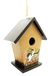 24 Units of Wooden Bird House Hand Painted 6 Inches Tall - Home Decor