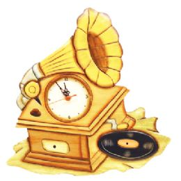 18 Units of WALL CLOCK WOODEN HAND MADE AND PAINTED 15 RECORD PLAYER DESIGN - Wall Decor