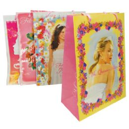 36 Units of FELIZ QUINCE ANOS GIFT BAG 17 X 22 X 6 INCH SUPER JUMBO 4 ASSORTED DESIGNS - Gift Bags