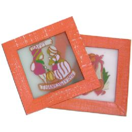 48 Units of Thanksgiving Stained Glass Plaque 6.5x6.5 Inch Prepriced At $2.99 - Halloween & Thanksgiving