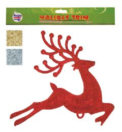36 Units of CHRISTMAS HANGING DECORATION OF REINDEER 11 X 12 INCHES ASSOTED COLORS