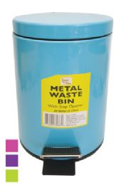 8 Units of Metal SteP-On Waste Basket 0.8 G With Step Opener Assorted Colors - Waste Basket