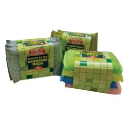 48 Units of Sponge Filled Scouring Pads 4 Pk 5 X 3.5 Inch Heavy Duty Assorted Colors In Display - Cleaning Products