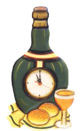 18 Units of WALL CLOCK WOODEN HAND MADE AND PAINTED 16.5 WINE BOTTLE DESIGN - Clocks & Timers