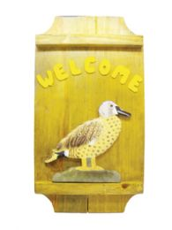 12 Units of Wooden Welcome Plaque16 Inches Height X 8.5 Inches Wide Duck - Store