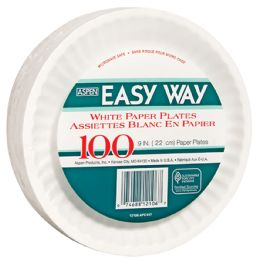 12 Units of Easy Way 9 100 Ct Paper Plate Microwave Safe - Disposable Plates & Bowls