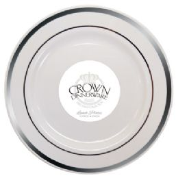 12 Units of Crown Dinnerware Lunch Plate 9 Inch 10 Pack Executive Collection White/silver - Disposable Plates & Bowls