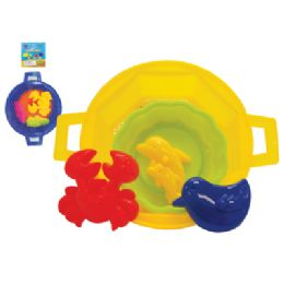 48 Units of PRIDE BEACH TOY SET 5 PIECE-1 BUCKET + 4 MOULDS - Summer Toys