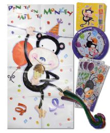 48 Units of American Greeting Birthday Kit 33 Pc Party Animal Design 8 EacH- Plates/ Napkins/cello Party Bags/monkey Tails/1 Pin The Tail On The Monkey Board - Party Paper Goods