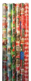 60 Units of CHRISTMAS GIFT WRAP 40 SQFT 30 INCHESX16 FEET FURRY FRIENDS ASSORTED DESIGNS