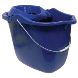 18 Units of MOP BUCKET 15 X 10.5 X 11 INCH WITH WRINGER AND WHEELS ASSORTED COLORS - Buckets & Basins