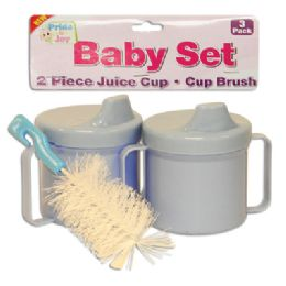 36 Units of BABY SET 3 PK - 2 PC 8 OZ JUICE CUPS + 1 PC CUP BRUSH ASSORTED COLORS - Baby Utensils