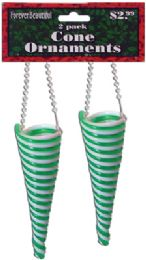 72 Units of CHRISTMAS PLASTIC SWIRL CONE ORNAMENT 2 PACK 5 INCH - Christmas Ornament