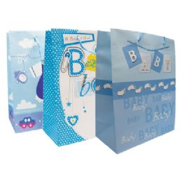 48 Units of Baby Boy Gift Bag 18 X 13 X 4 Inch Jumbo Assorted Designs - Gift Bags Baby