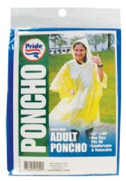48 Units of ADULT PONCHO 52 X 80 INCH ASSORTED COLORS - Umbrellas & Rain Gear