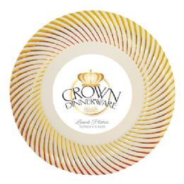 12 Units of CROWN DINNERWARE LUNCH PLATE 10 PACK 9 INCH DISTINCTIVE COLLECTION GOLD - Disposable Plates & Bowls