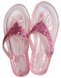 12 Units of Ladies Embellished Jelly Flip Flops Assorted Sizes 5-11 - Women's Flip Flops
