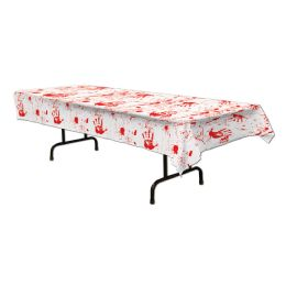 12 Units of Bloody Handprints Tablecover Plastic - Table Cloth
