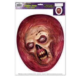 12 Units of Zombie Head Toilet Topper Peel 'n Place - Hanging Decorations & Cut Out