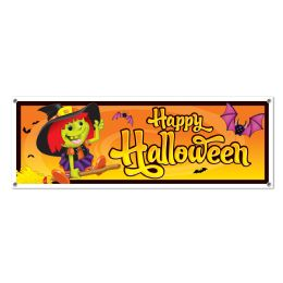 12 Units of Happy Halloween Sign Banner all-weather; 4 grommets - Party Banners