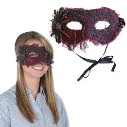 12 Units of Spider Mask black ribbon ties - Party Hats & Tiara