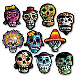 24 Units of Mini Day Of The Dead Cutouts prtd 2 sides - Hanging Decorations & Cut Out