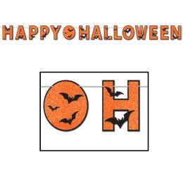 12 Units of Glittered Happy Halloween Streamer - Streamers & Confetti