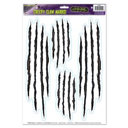 12 Units of Creepy Claw Marks! Peel 'n Place - Hanging Decorations & Cut Out