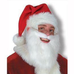6 Units of Plush Santa Hat w/Beard & Moustache one size fits most - Party Hats & Tiara