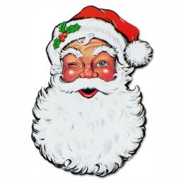12 Units of Display Santa Face Cutout prtd 2 sides - Hanging Decorations & Cut Out