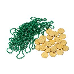 12 Units of Leprechaun Loot 12 Green Beads, 25 Gold Coins - Party Novelties