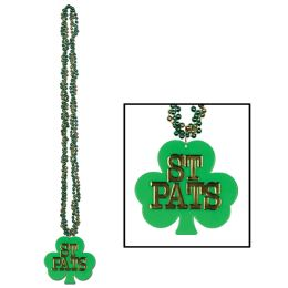 12 Units of Braided Beads w/Shamrock Medallion - Party Necklaces & Bracelets