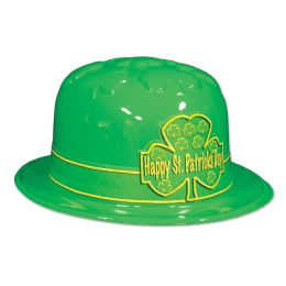 25 Units of Plastic St Patrick's Day Shamrock Derby W/printed Band; One Size Fits Most - Party Hats & Tiara