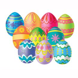24 Units of Mini Easter Egg Cutouts Prtd 2 Sides - Hanging Decorations & Cut Out